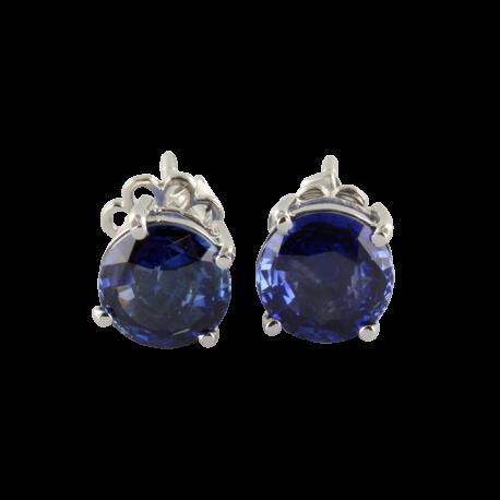 Boucles d'oreilles or et saphirs (3 carats), les bleues brillantes