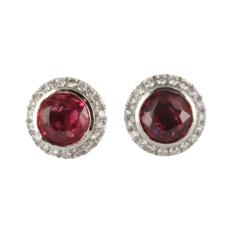 Boucles d'oreilles or et spinelle (3 carats) et diamants (0,5 carat), les roses intenses