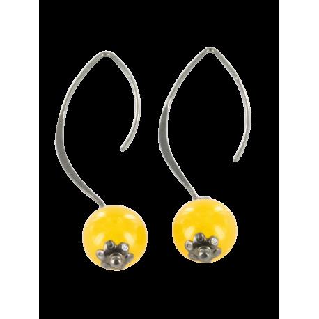 Boucles d'oreilles argent et jade (4 carats), les jonquilles