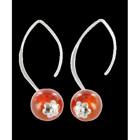Boucles d'oreilles argent et jade (4 carats), cerise