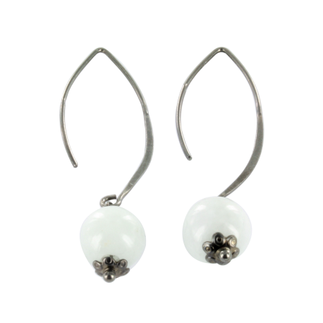 Boucles d'oreilles argent et jade blanc (4 carats), neige