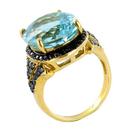 Bague argent et topaze (8 carats) et saphirs (1 carat), reine bleue