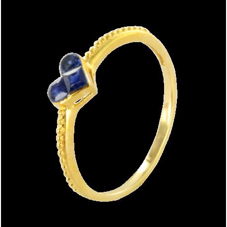 Bague argent et saphirs (0,45 carat), amour délicat bleu royal