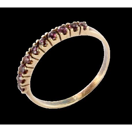 Bague argent et améthystes (1 carat), demi lune violette