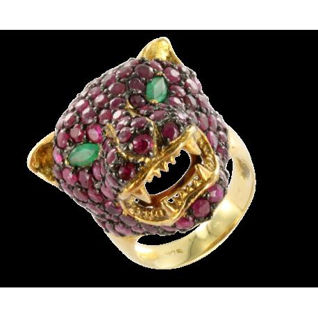 Bague argent et rubis (4 carats) et émeraude (0,2 carats), la tigresse rose