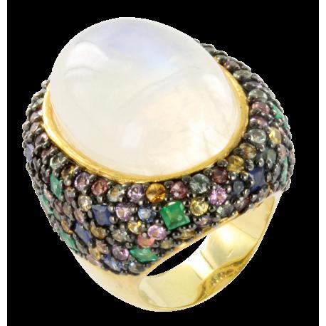 Bague argent et pierre de lune (21 carats), saphirs (2 carats) et émeraude (0,4 carat), espérance