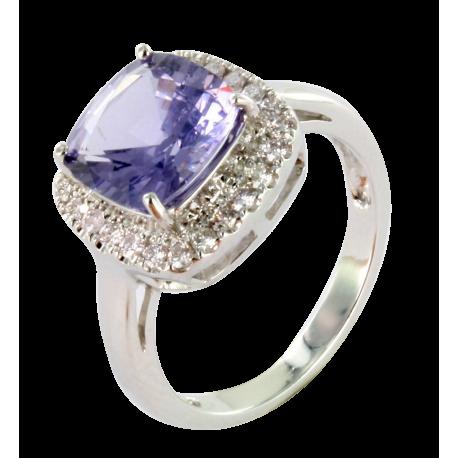 Bague or et spinelle (4 carats) et diamants (0,3 carat), la grise intense