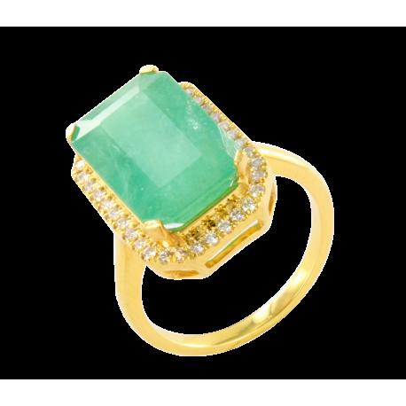 Bague or et emeraude (7 carats) et diamants (0,3 carat), jeanne