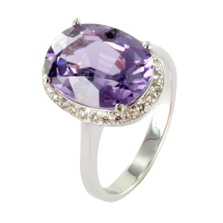 Bague or et spinelle (8 carats) et diamants (0,3 carat), la violette intense