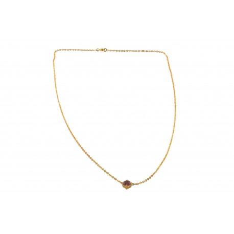 Colliers et pendentifs or et spinelle (0,3 carat), le spinelle rose
