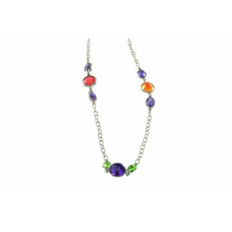 Colliers et pendentifs argent et différentes en fonction des colliers, sautoir multicolor