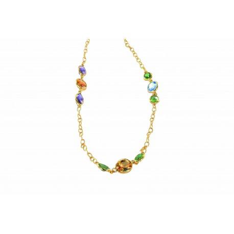 Colliers et pendentifs argent et différentes en fonction des colliers, sautoir multicolor jaune
