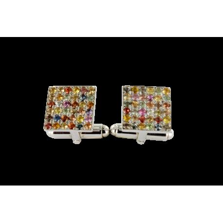 Boutons de manchette argent et saphirs (1,5 carats), les multicolors