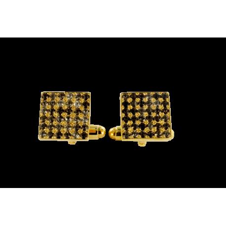 Boutons de manchette argent et saphirs (1,5 carats), carrés dorés