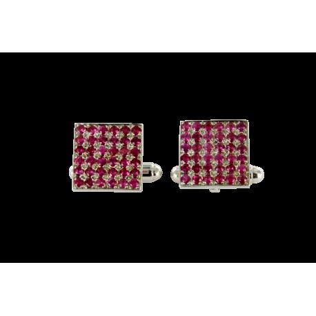 Boutons de manchette argent et rubis (1,5 carats), roses intenses