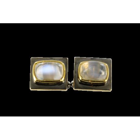 Boutons de manchette argent et pierre de lune (4 carats), crépuscule