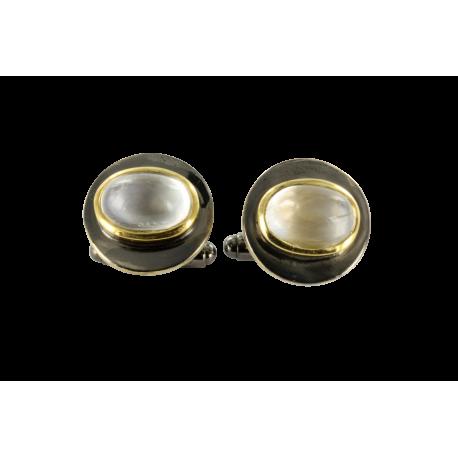 Boutons de manchette argent et pierres de lune (5 carats), pleine lune