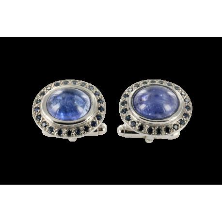 Boutons de manchette or et tanzanites (10 carats) et saphirs (1,5 carat), l'univers