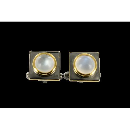 Boutons de manchette argent et pierres de lune (6 carats), luna