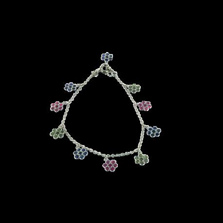 Bracelets argent et tsavorites (2 carats), saphirs (2 carats) et rubis (2 carats), fleurs et couleurs