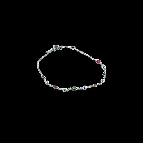 Bracelets argent et rubis (0,4 carat), saphirs (0,4 carat) et tsavorites (0,4 carat), l'indémodable