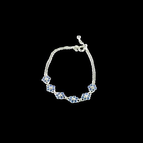 Bracelets argent et saphirs (5 carats), les fleurs bleues