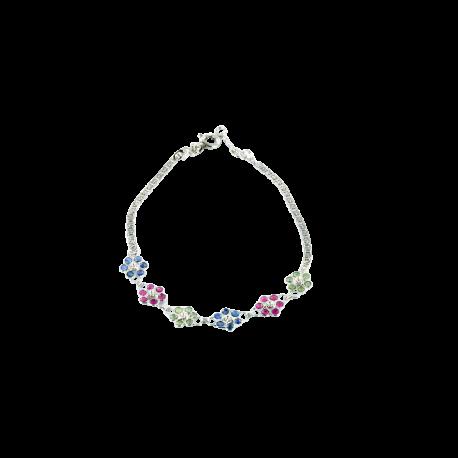 Bracelets argent et rubis (1 carat), saphirs (1 carat) et tsavorites (1 carat), les fleurs multicolores