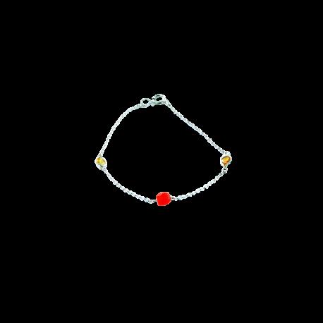 Bracelets argent et corail (1 g) et saphirs (1 carat), l'amour en jaune