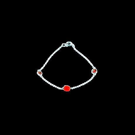 Bracelets argent et corail (1 g) et grenats (1 carat), l'amour en rouge