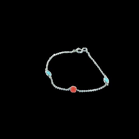 Bracelets argent et corail (1 g) et apatites (1 carat), l'amour en bleu