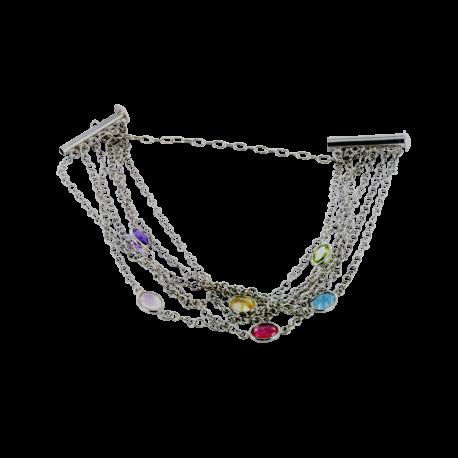 Bracelets argent et rubis (1 carat), améthyste (1 carat), péridot (1carat), calcédoine (1 carat) et topaze (1 carat), inspiration et couleurs