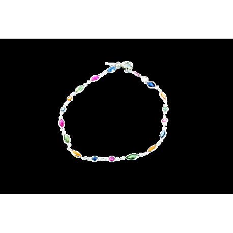 Bracelets argent et rubis (2,5 carats), saphirs (4 carats) et tsavorites (2,5 carats), lola