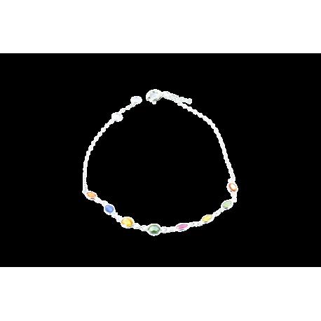 Bracelets argent et rubis (0,5 carat), saphirs (1,5 carats) et tsavorites (0,5 carat), l'amoureux